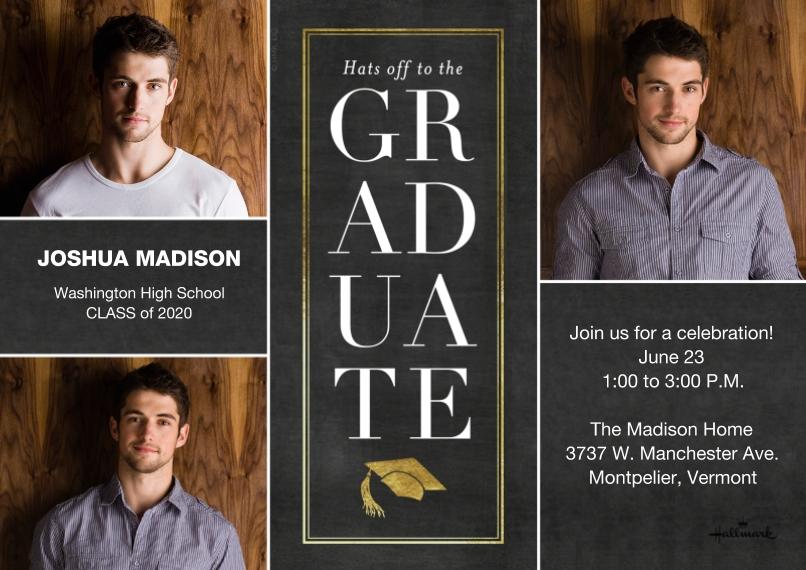Graduation Invitations 5x7 Cards, Premium Cardstock 120lb, Card & Stationery -Stacked Graduate Invitation