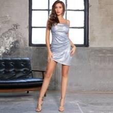 DKRX vestido de tirante con lentejuelas fruncido bajo asimetrico