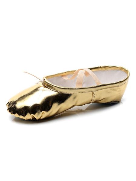 Milanoo Women\'s Ballet Dance Shoes Blond Closed Toe Dance Shoes