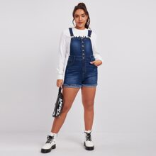Plus Button Front Frayed Trim Bleach Wash Overall Shorts