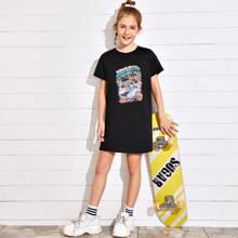 T-Shirt Kleid mit Auto & Buchstaben Muster