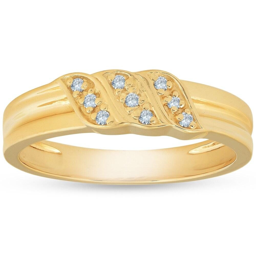 Pompeii3 10k Yellow Gold Diamond Wedding Ring Mens Anniversary Band (7.5)