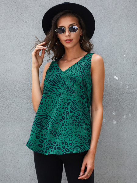 YOINS Green Animal Leopard V-neck Tank Top