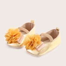 Baby Maedchen Flats mit Blumen Dekor und elastischem Riemen