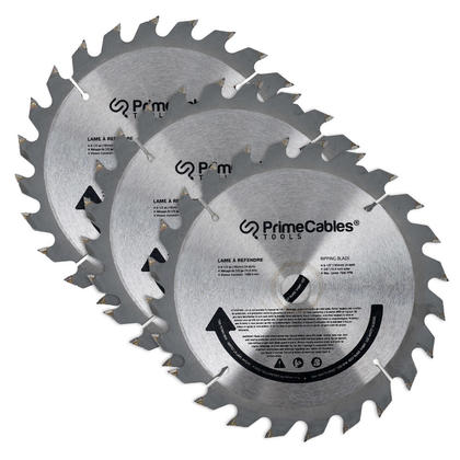 6 1/2'' 24T Circular Saw Blade for Wood Working, 3 Pcs/Pack - PrimeCables®