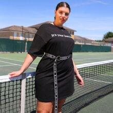 T-Shirt Kleid mit Buchstaben Grafik & Guertel