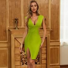 Sesidy Neon Lime Kleid mit Kreuzgurt, Wickel vorn und offener Rueckseite