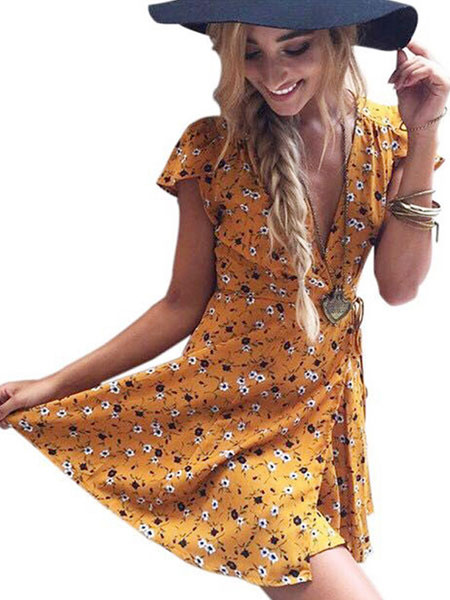 Milanoo Floral Summer Dresses V Neck Short Sleeves Tea Dress Brick Red Cotton Sundress for women Mini Dress