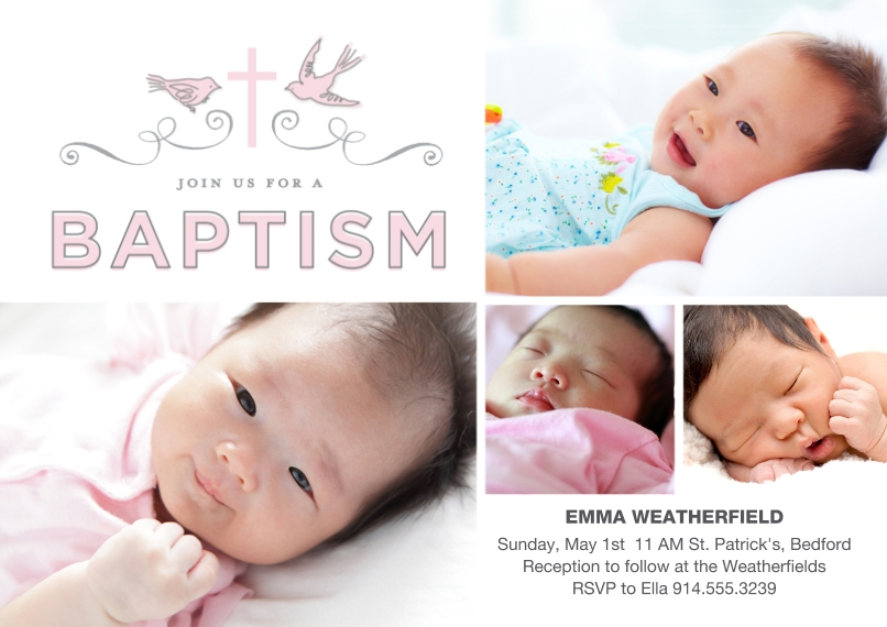 Baptism Invitations 5x7 Cards, Premium Cardstock 120lb with Rounded Corners, Card & Stationery -Baptism Doves Ribbon