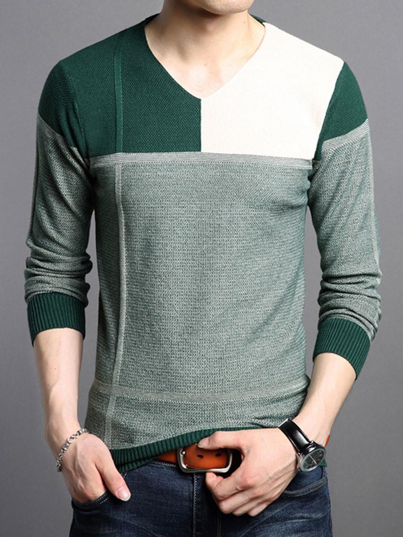 Ericdress Color Block V-Neck Slim Men's Sweater