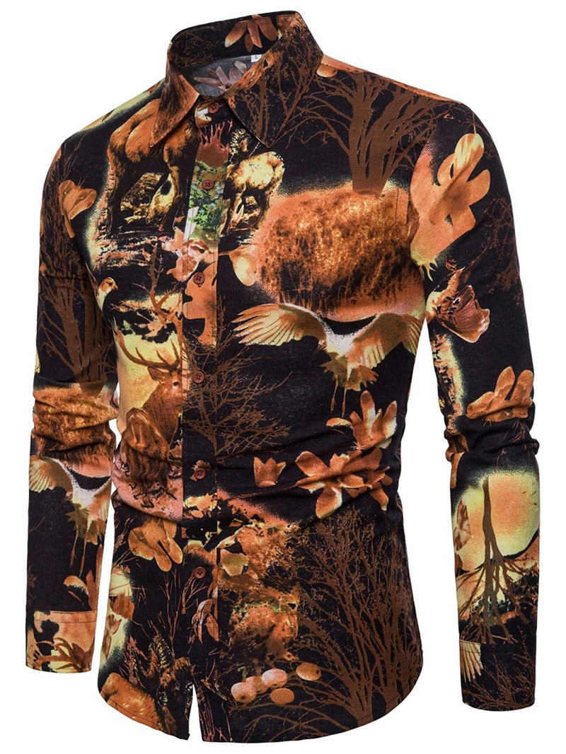 Ericdress Color Block Print Mens Lapel Slim Shirt