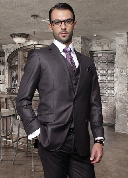 2 Button Heather Charcoal Suit with a Vest Supers Wool Slanted Pocket