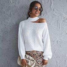 Drop Shoulder Cut Out Detail Sweater