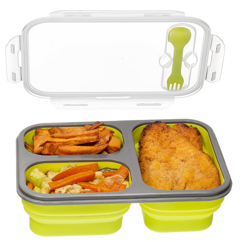 Foldable Microwave Oven Bento Silicone Lunch Box Picnic Food Container