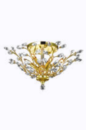 V2011F27G/EC Orchid 6 Light Gold Flush Mount Clear Elegant Cut