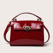 Bolsa cartera con cerradura girante con solapa minimalista