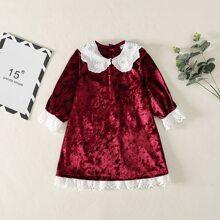 Toddler Girls Contrast Eyelet Embroidered Velvet Dress