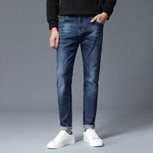 Men Cat Whisker Straight Leg Jeans