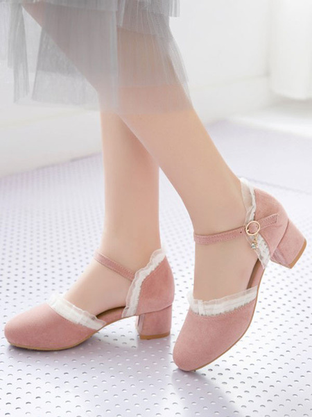 Milanoo Sweet Lolita Footwear Round Toe Suede Lolita Shoes