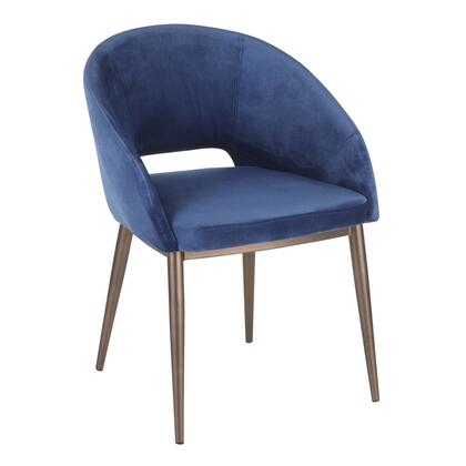 CH-RENEE CUBU Renee Contemporary Chair in Copper Metal Legs with Blue