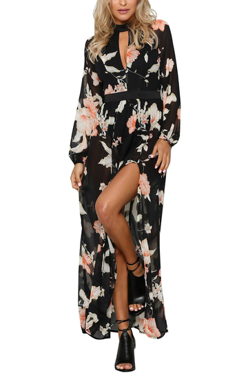 Yoins See-through Random Floral Long Sleeves Slit Maxi Dress