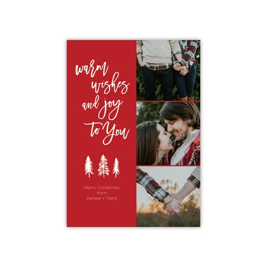 20 Pack of Gartner Studios® Personalized Warm Wishes Flat Holiday Photo Card in Brick | 5