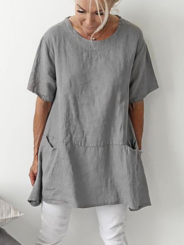 Solid Pocket Cotton Blouse