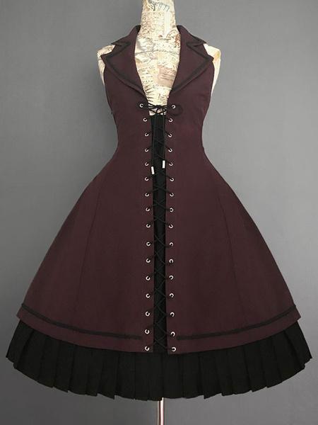 Milanoo Vintage Gothic Lolita JSK Dress Farron Covenant Lace Up Lolita Jumper Skirt