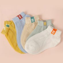 5pairs Toddler Boys Letter Embroidered Socks