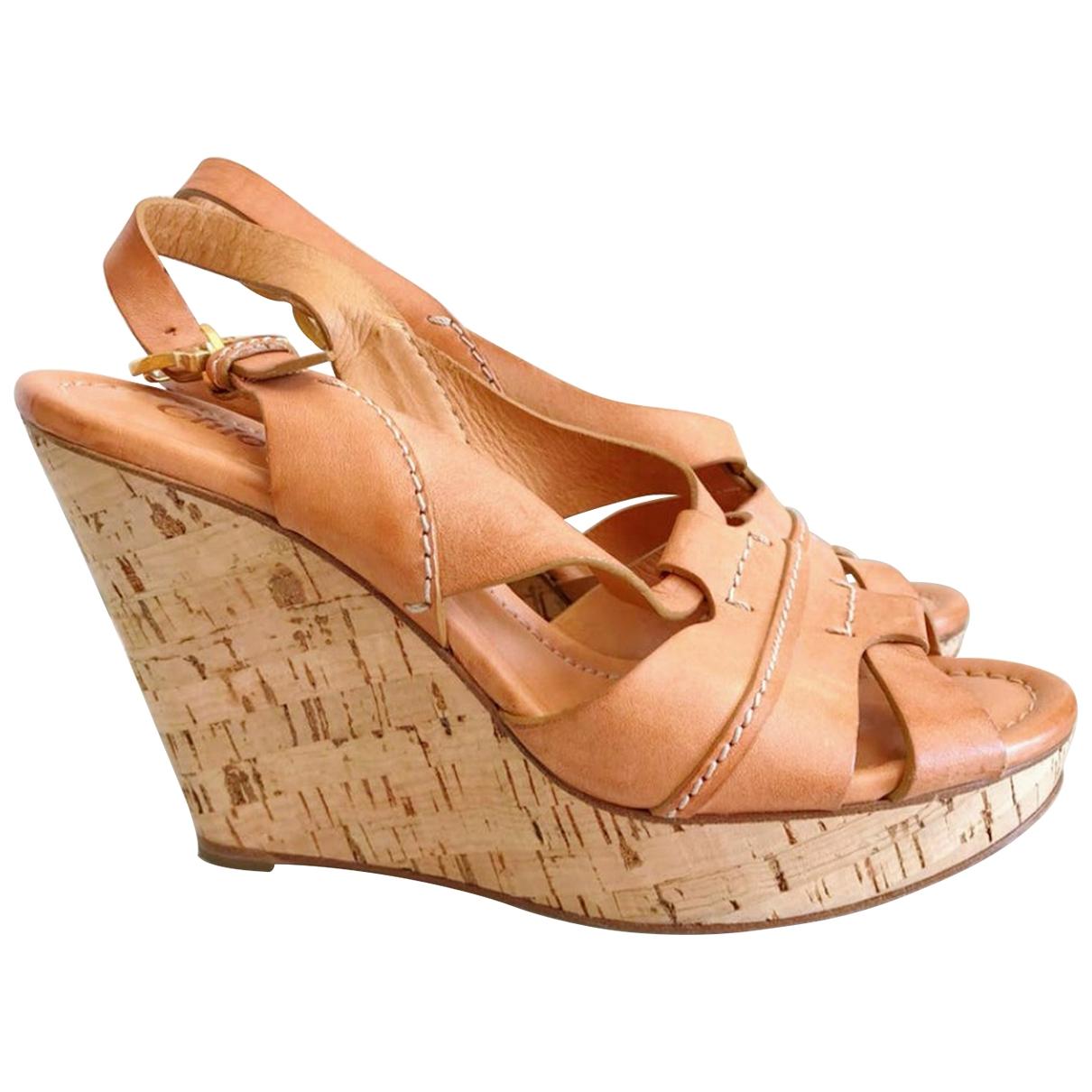 Chloe - Sandales   pour femme en cuir - camel