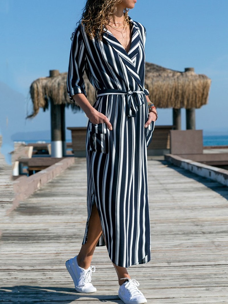 Ericdress Pocket Mid-Calf Notched Lapel Print Asymmetrical Dress