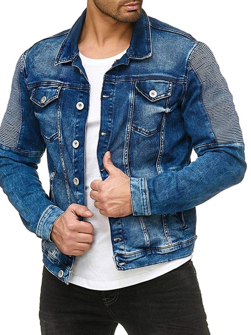 Ericdress Button Color Block Lapel Slim Men's Casual Jacket