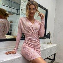 Double Crazy Kleid mit Reissverschluss hinten, Ruesche und Glitzer