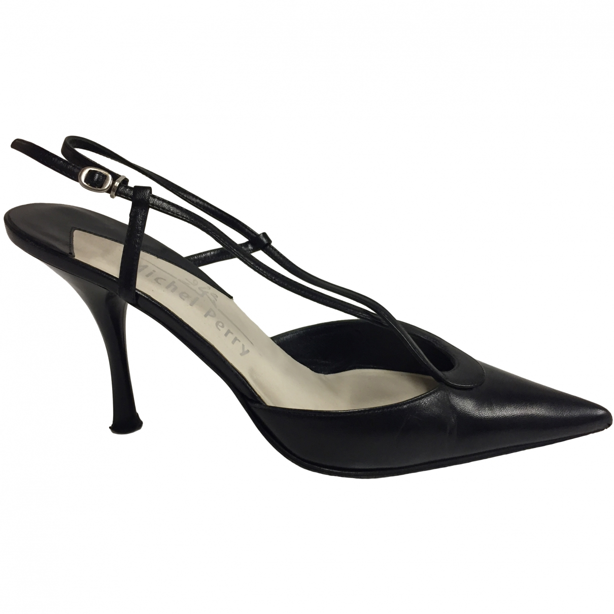 Michel Perry \N Black Leather Heels for Women 36.5 EU