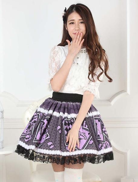 Milanoo Purple Lolita Skirt Alice Poker Printed Lace Trim