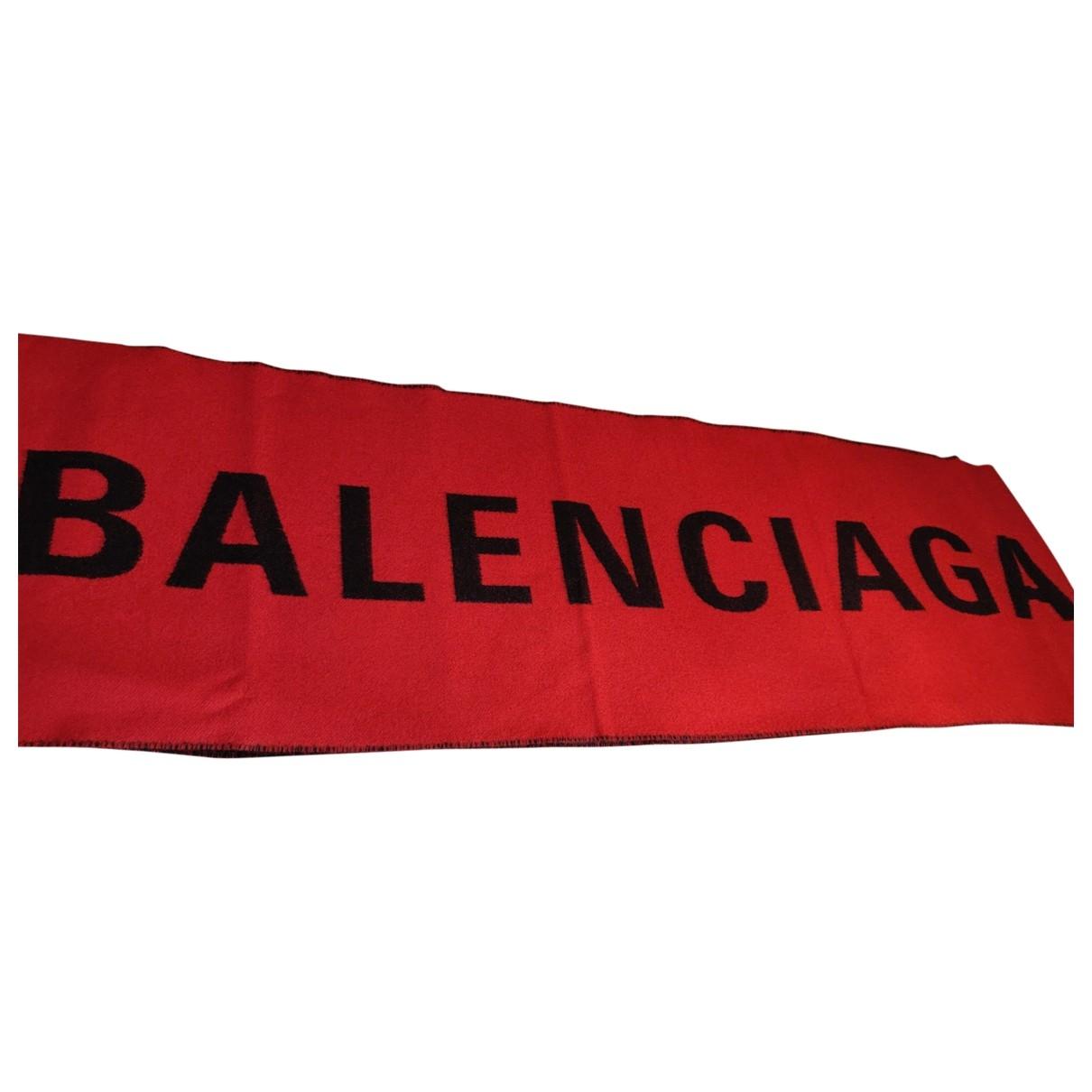 Balenciaga - Foulard   pour femme en laine - rouge