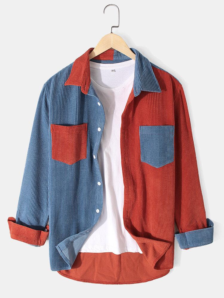 Mens Corduroy Stitching Double Pockets Lapel Long Sleeve Shirts