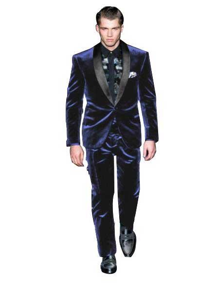 Mens Navy Blue Color Tuxedo Black Lapel Velvet Wedding Party Dinner