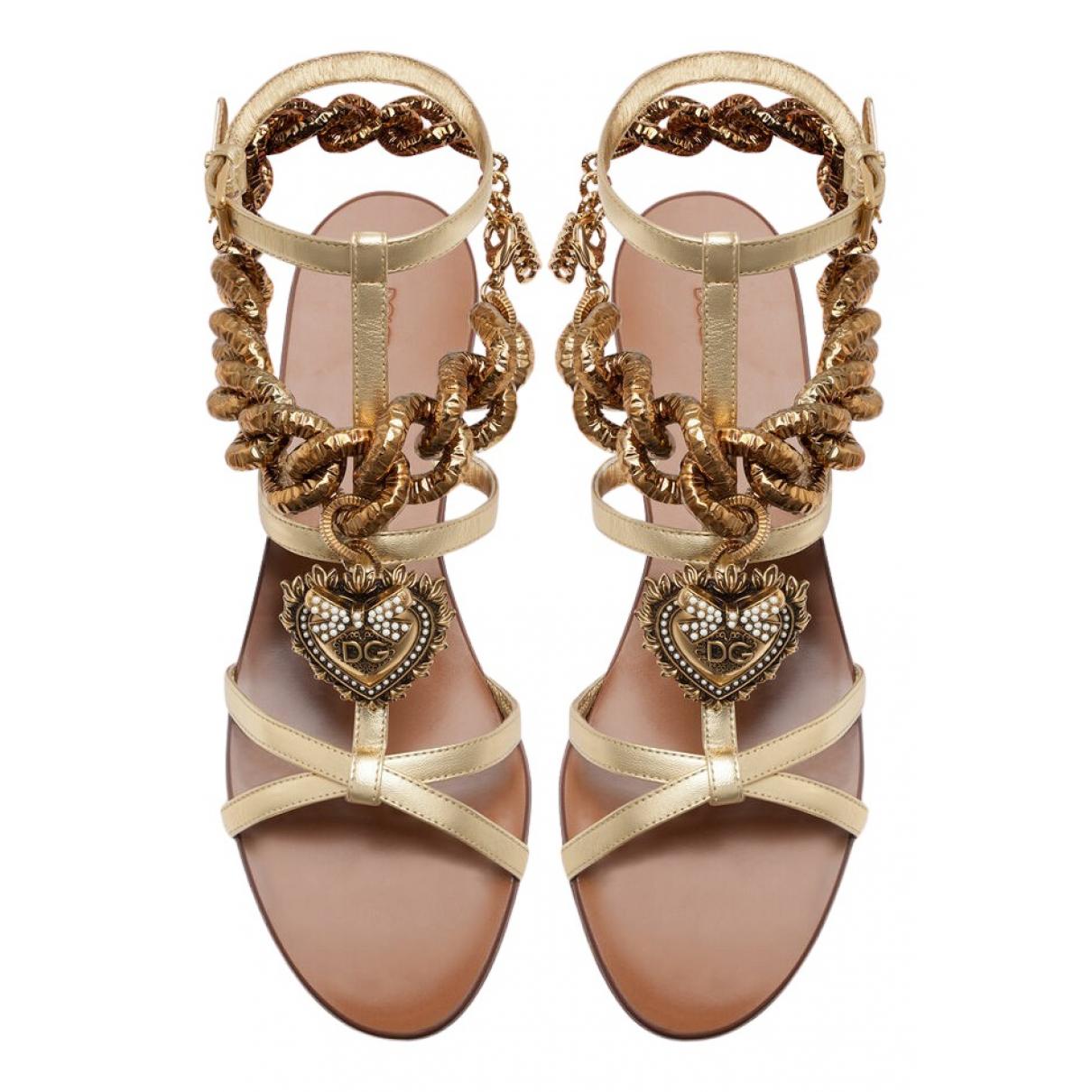 Dolce & Gabbana N Gold Leather Sandals for Women 37.5 EU