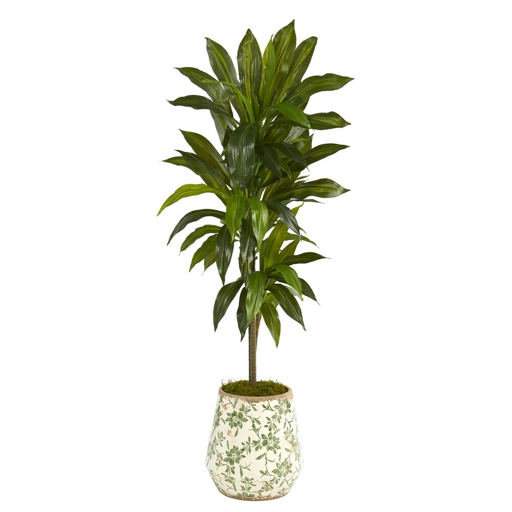 4' Dracaena Artificial Plant in Flower Print Planter (Real Touch) (Green)