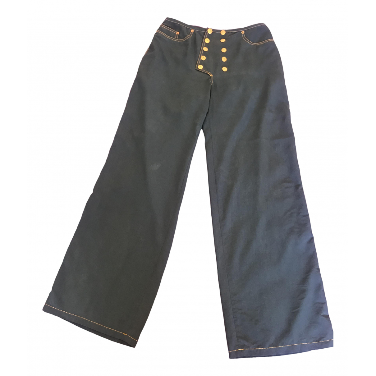 Jean Paul Gaultier \N Blue Cotton Trousers for Women 40 IT
