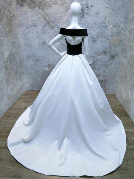 Milanoo Black Wedding Dresses Satin A Line Off The Shoulder Short Sleeves Bridal Gown With Train