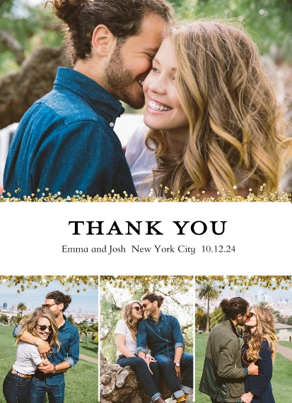 Wedding Thank You 7x10 Seal & Send Cards, Card & Stationery -Thank you Memories Glitter by Tumbalina