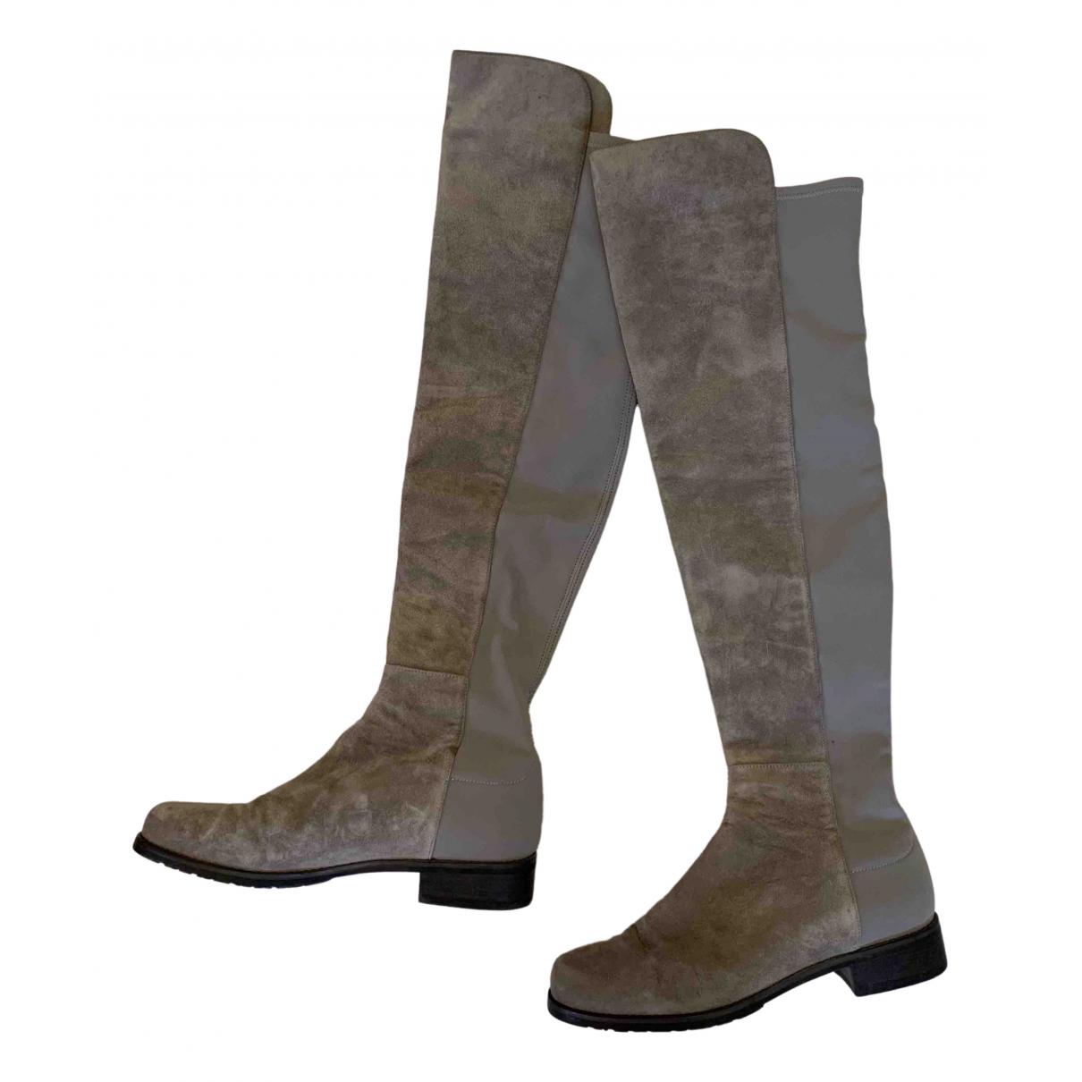 Stuart Weitzman N Beige Suede Boots for Women 37.5 EU