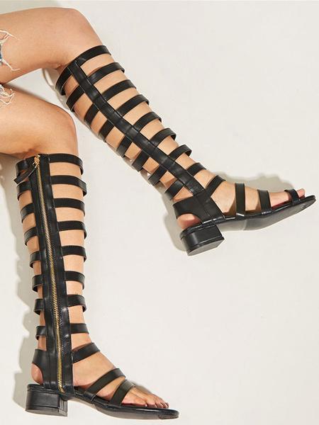 Milanoo Sandalias romanas negras Sandalias planas con cremallera lateral y punta cuadrada de cuero PU Sandalias planas para mujer