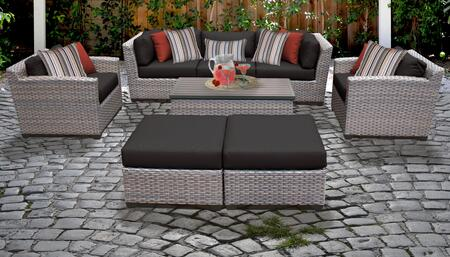 Florence Collection FLORENCE-08c-BLACK 8-Piece Patio Set 08c with 2 Corner Chair   1 Armless Chair   2 Ottoman   1 Storage Coffee Table   2 Club