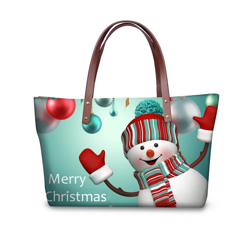 Christmas Snowman Say Hi Waterproof 3D Printed Shoulder Handbag