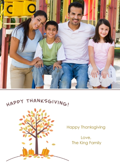 Thanksgiving Photo Cards 5x7 Folded Cards, Standard Cardstock 85lb, Card & Stationery -Thankful Pumpkins