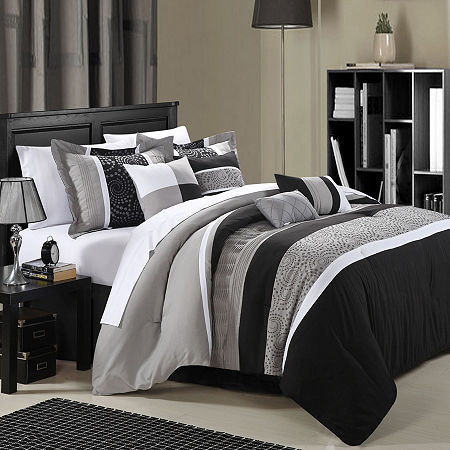 Chic Home Euphoria 12-pc. Stripes Complete Bedding Set with Sheets, One Size , Black