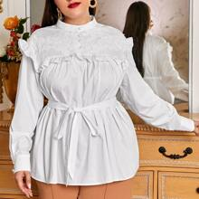 Plus Buttoned Front Lace Yoke Ruffle Trim Self Belted Top